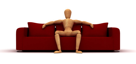 Mannequin Sitting On Red Sofa (Isolated on white background) Banco de Imagens
