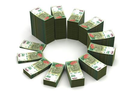 signo de pesos: Tabla de pesos argentinos Foto de archivo