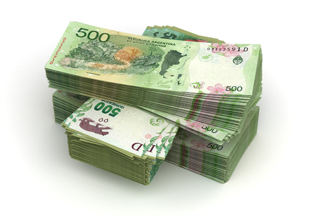 Stack of Argentina Pesos (isolated with clipping path)