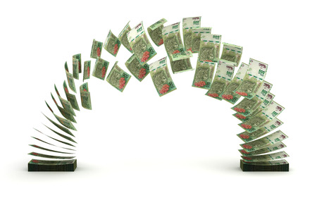 Argentina Pesos Transfer (isolated with clipping path)