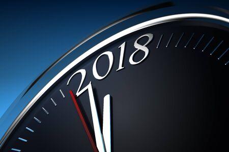 blue metallic background: Last Minutes to 2018 Stock Photo