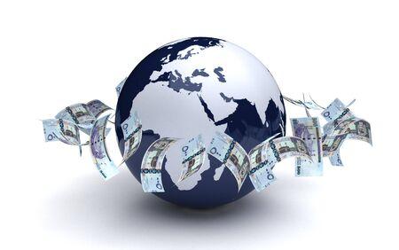 Global Business Saudi Arabian Riyals Currency 版權商用圖片