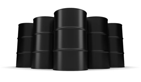 Black Industrial Barrel (Isolated on white background) Stock Photo