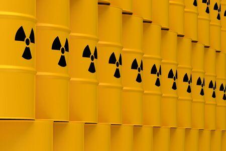 Yellow Radioactive Waste Barrels