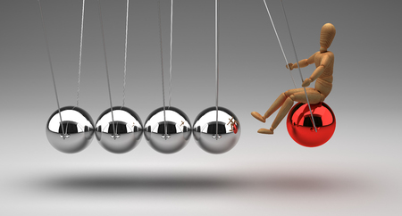 Newton's Cradle With People Stockfoto