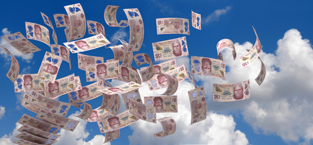 Flying Mexican Pesos (isolated with clipping path)