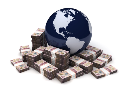 Global Business With Mexican Pesos Stock Photo