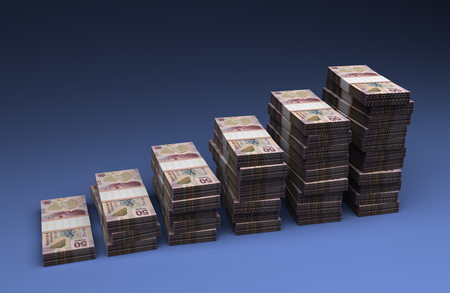 Mexican Pesos Bar Graph (On blue background)