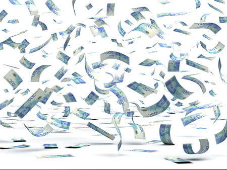 Falling Israeli New Shekels (isolated with clipping path)