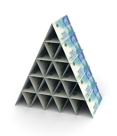 Pirámide de nuevo shekel israelí sobre fondo blanco.