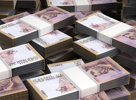 Stack of Colombian Pesos Close-up