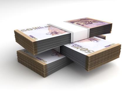 Pila di pesos colombiani su sfondo bianco