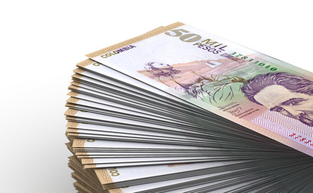 Pila di pesos colombiani Close-up