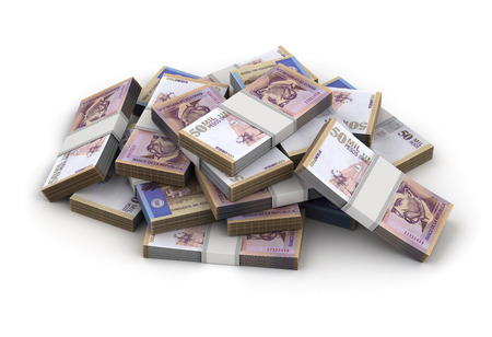 Stack of Colombian Pesos (isolated on white background) Imagens