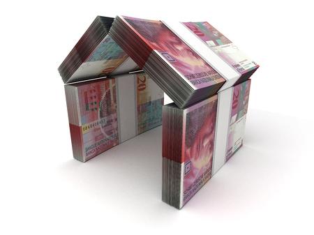 Concept immobilier franc suisse sur blanc