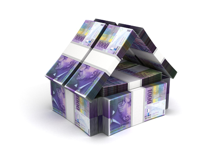 Real Estate Concept Swiss Franc on White Stock Photo
