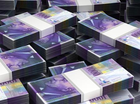 Stack of Swiss Franc Closeup