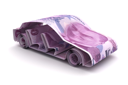 Car Finance With Turkish Lira (Isolated on white background)