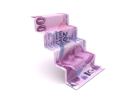 Higher Steps With Turkish Lira (Isolated on white background)