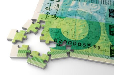 Nouveau puzzle de shekel israélien (isolé sur fond blanc)