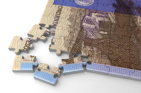 Puzzle di pesos colombiani (isolato su sfondo bianco)
