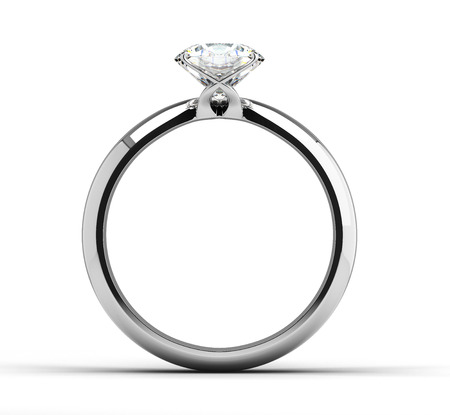 Solitaire ring on white background