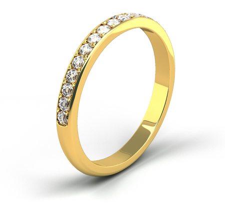 Single diamond wedding ring on white background 版權商用圖片