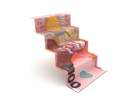 Higher Steps With New Zealand Dollar (Isolated on white background)