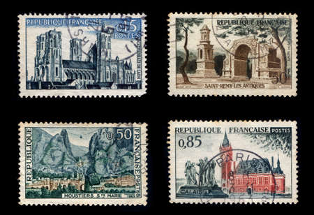 Postage Stamps of France (Isolated on black background)