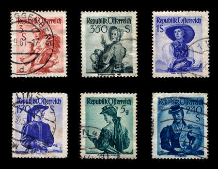 Womans of Republic Osterreich Stamp Collection (Isolated on black background)