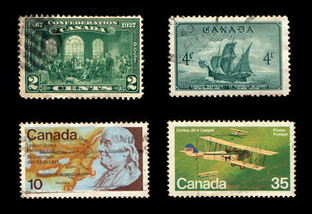 Postage Stamps of Canada (Isolated on black background)