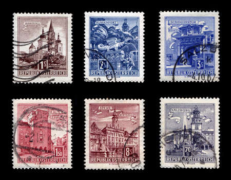Building of Republic Osterreich Stamp Collection (Isolated on black background) Stock Photo