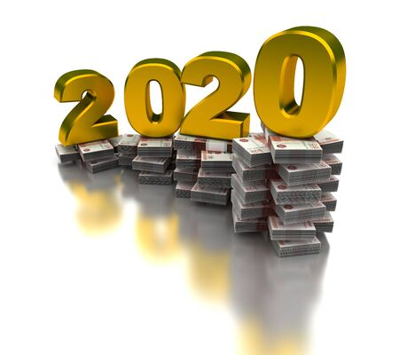 Growing Russian Economy 2020 (isolated on white background)