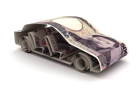 Finanziamento auto con yen giapponese (isolato su sfondo bianco)