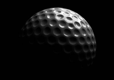 Single golfball on black background Standard-Bild