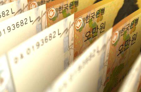 Arranged South Korean Won Closeup images