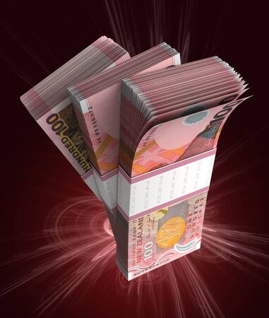 Stack of New Zealand Dollar (isolated with clipping path) Stock Photo