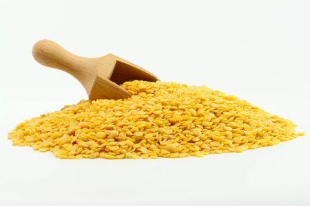 Yellow Lentils on white background