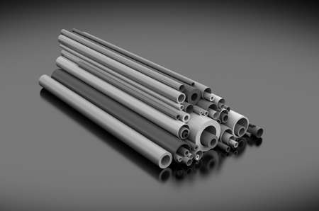 Plastic pipes on dark background