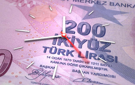 Time and Turkish Lira. Time is money concept Stock Photo