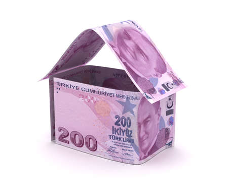 Real Estate With Turkish Lira (Isolated on white background) Stock Photo