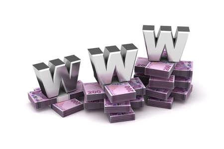 World Wide Web Economy with Turkish Lira (Isolated on white background) Stock Photo