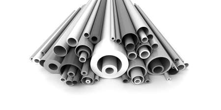 Plastic pipes on white background