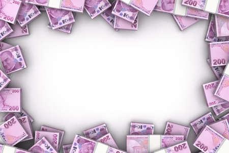 Frame with Turkish Lira (Isolated on white background) Stock Photo