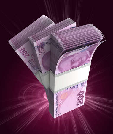 Stack of Turkish Lira (isolated with clipping path) Stock Photo
