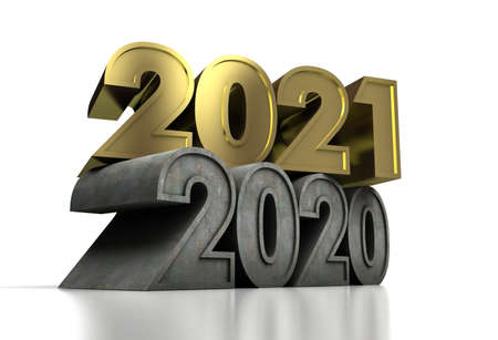 New Year 2021 and old 2020 on white background Stock Photo