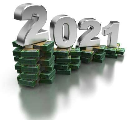 Bad Australia Economy 2021 (isolated on white background) Stock Photo
