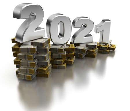 Bad South Korea Economy 2021 (isolated on white background)