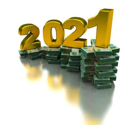 Growing Australia Economy 2021 (isolated on white background)