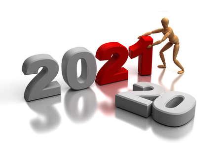 New Year 2021 (isolated on white background) Stock Photo